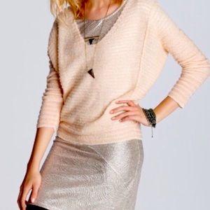 Free people peach striped dolman sleeve sweater